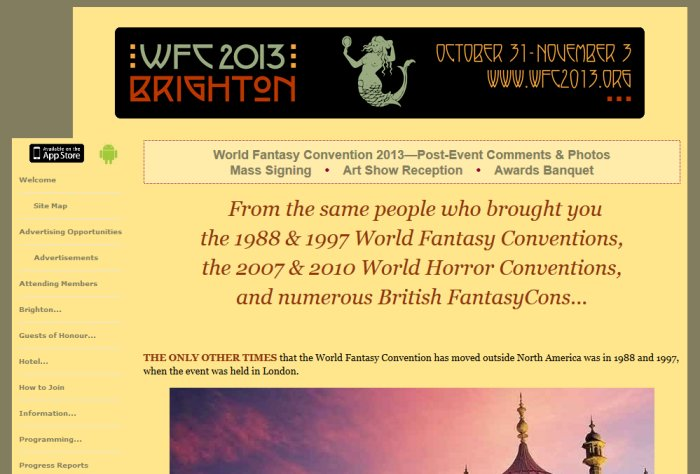World Fantasy Convention 2013 Website