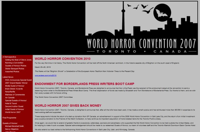World Horror Convention 2007 Website