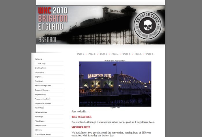 World Horror Convention 2010 Website