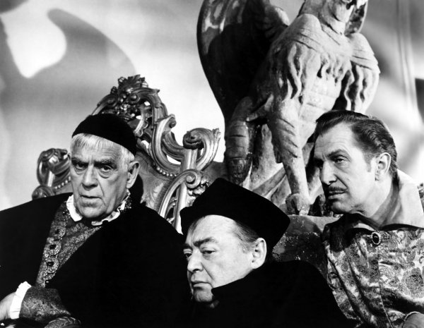 Boris Karloff, Peter Lorre and Vincent Price in The Raven