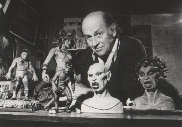 Ray Harryhausen and some of the miniatures from Clash of the Titans (1981)