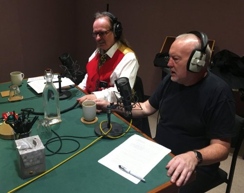 Kim Newman (left) and Stephen Jones recording audio commentary