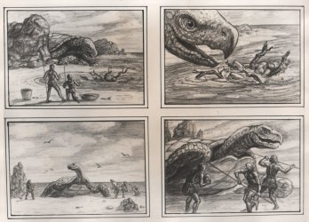 Storyboards from One Million Years B.C. (1966)