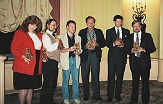 Bram Stoker Awards, Providence, Rhode Island, 1990. Left to right: Nancy Collins, Kim Newman, Stephen Jones, Robert Bloch, Robert R. McCammon and Dan Simmons.