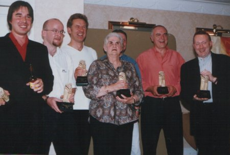 British Fantasy Awards 2000 - Darren Floyd, Tim Lebbon, Graham Joyce, Anne McCaffrey, Les Edwards (hidden), Peter Crowther and Stephen Jones