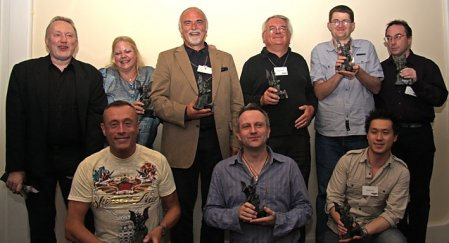 2008 British Fantasy Awards. Left to right (back row): Stephen Jones, Jo Fletcher, Peter Crowther, Ramsey Campbell, Christopher Teague and Joel Lane; (front row) Christopher Fowler, Conrad Williams and Vincent Chong.