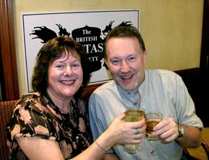 Agent Dorothy Lumley and Stephen Jones celebrate the latter's 50th birthday (FantasyCon, Stafford, 2003)