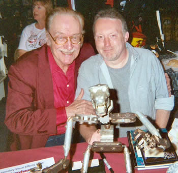 Forrest J Ackerman and Stephen Jones with the original King Kong armature in foreground, April 18th, 2004