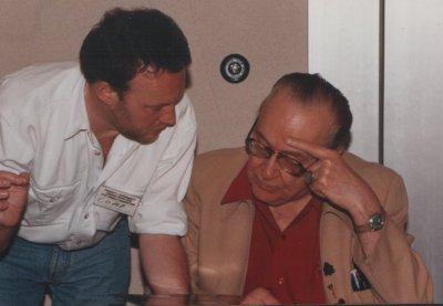 Forrest J Ackerman and Stephen Jones at the Famous Monsters Convention in Arlington, Virginia, May 1993