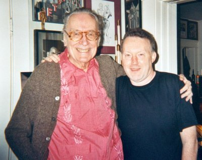 Forrest J Ackerman and Stephen Jones at the former's new bungalow in Los Feliz, Los Angeles, 2003