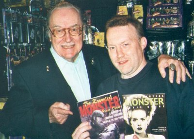 Forrest J Ackerman and Stephen Jones at the Dark Delicacies signing for The Essential Monster Movie Guide in Los Angeles, 2000