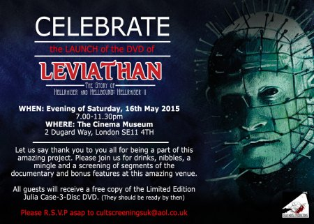 Invitation to Celebrate the DVD Launch of Leviathan: The Story of Hellraiser and Hellbound: Hellraiser II