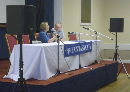 Stephen Jones interviewing Lisa Tuttle at FantasyCon 2010