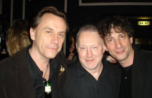 Michael Marshall Smith, Stephen Jones and Neil Gaiman in the bar (where else?)