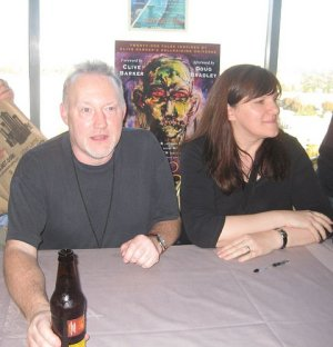 Stephen Jones and co-editor Marie O'Regan at the launch/signing for Hellbound Hearts at World Fantasy Convention, San Jose, Halloween 2009.