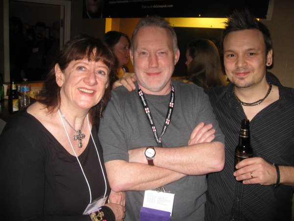 Nancy Kilpatrick, Stephen Jones and Rio Youers at the ChiZine Party.