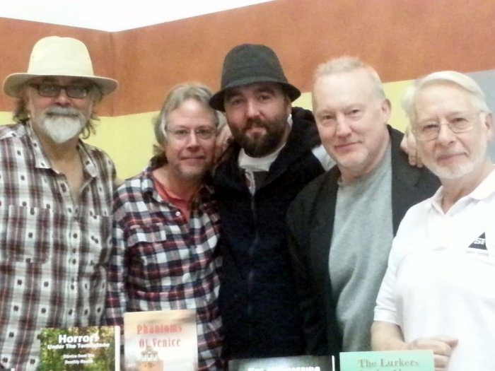 Left to right: Peter Coleborn, Mike Chinn, Johnny Mains, Stephen Jones and David A. Sutton