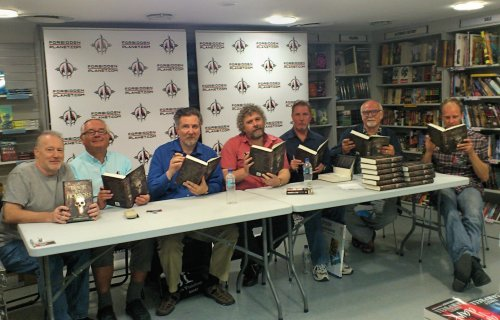 Stephen Jones, Ramsey Campbell, Reggie Oliver, Robert Shearman, Les Edwards, Peter Crowther and John Ajvide Lindqvist signing A Book of Horrors at London's Forbidden Planet, October 3rd, 2011