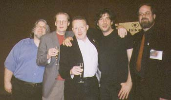 Robert T. Garcia, Randy Broecker, Stephen Jones, Neil Gaiman and Greg Ketter at the World Fantasy Convention (Minneapolis 2002)