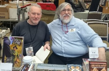Stephen Jones and publisher Robert T. Garcia at the American Fantasy table