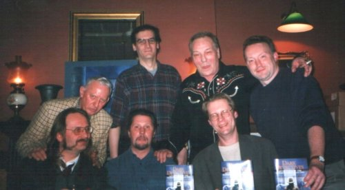Dark Detectives Launch. Back row Basil  Copper,  Jay Russell, Brian Lumley, Stephen Jones,  Front row Kim Newman, Les Edwards and Randy Broecker, London, Februaty 4, 2000