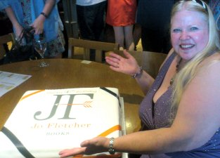 Jo Fletcher with JFB Birthday Cake