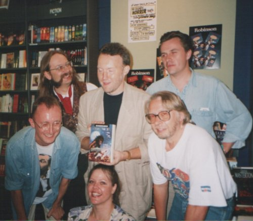 Clockwise: Nicholas Royle, Kim Newman, Stephen Jones, Michael Marshall Smith, David A. Sutton and Jo Fletcher, The Mammoth Book of Werewolves signing, Cambridge, 1994