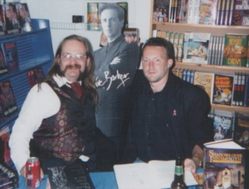 Shadows Over Innsmouth Signing, Kim Newman and Stephen Jones with a cut-out Clive Barker, The Stars Our Destination, Chicago, Illinois, November 2, 1994