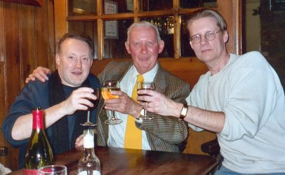Stephen Jones, Basil Copper and Randy Broecker, London, England, January 1997