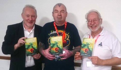 Stephen Jones, publisher Simon Marshall-Jones and David Sutton