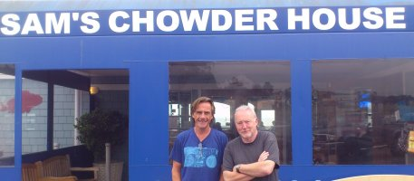 Stephen Jones and Michael Marshall Smith outside Sam's Chowder House