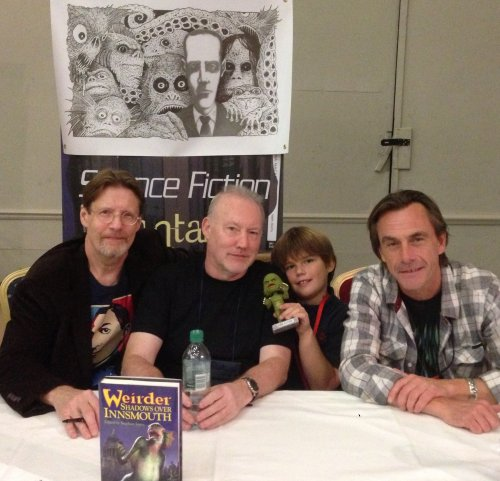 Randy Broecker, Stephen Jones, Nate Smith & Michael Marshall Smith at Weirder Shadows Over Innsmouth signing, World Fantasy Convention 2013, Brighton, 02.11.13