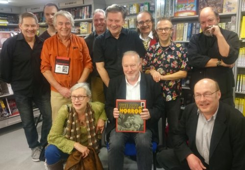 Steve Crisp, Joe Roberts, Jim Burns, Les Edwards, Barry Forshaw, Kim Newman, Graham Humphreys and Dave McKean, Stephen Jones flanked by Elephant Book Company's Laura Ward and Will Steeds