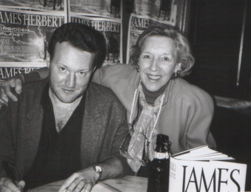 Stephen Jones and his mum, Violet, at the Forbidden Planet signing for James Herbert By Horror Haunted, London, November 14, 1992