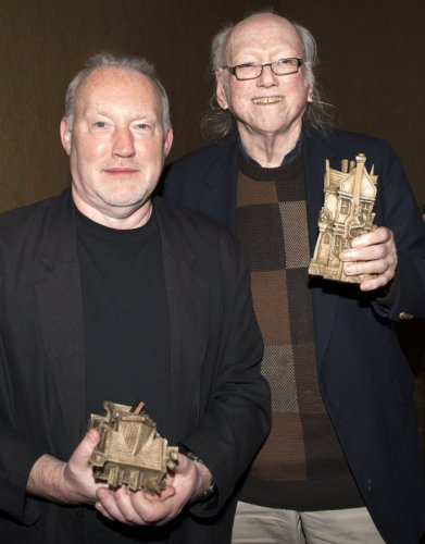 Stephen Jones and William F. Nolan show off their Bram Stoker Awards